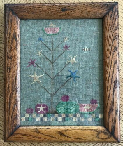 Finished! Primitive Counted Cross Stitch WATERMELON TREE Professionally Framed