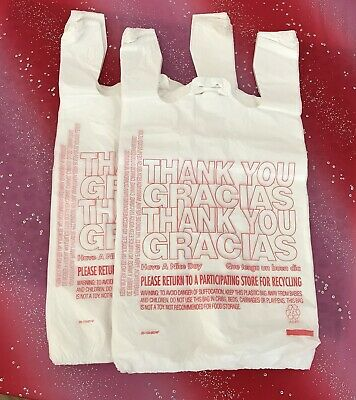 200 T-shirt Thank You Plastic Grocery Store Shopping Carry Out Bag