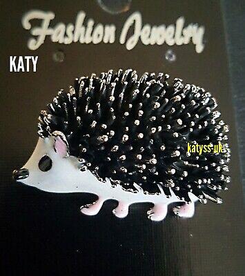 Vintage Style Black Hedgehog Diamante Silver Brooch Pin Broach Crystal Enamel
