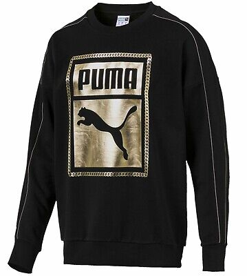 Men's New Puma Chain Crew Sweatshirt Jumper Pullover Top - Black