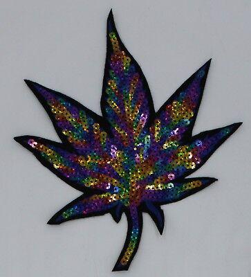 Sequin Patch: Large Rainbow Marijuana (Rainbow Marijuana Leaf)