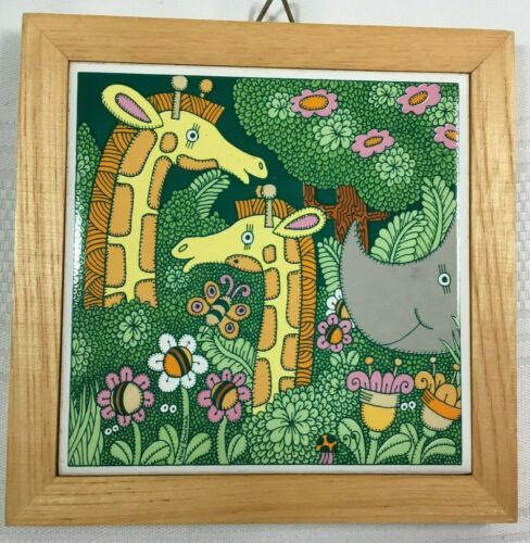 Ceramic Tile Wall Decor Baby Nursery Giraffes Rhino Flowers Vintage Japan
