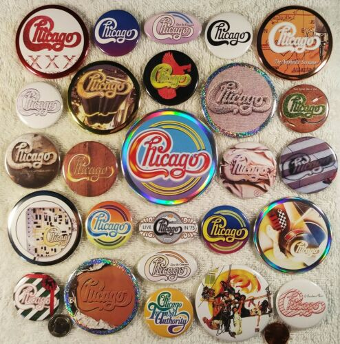 Chicago PIN BUTTON LOT A - 26 Mixed HOLOGRAPHIC Peter Cetera Band