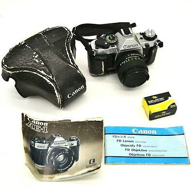 Vintage Canon AE-1 Program 35mm Camera W/ Snap On Case Instructions  F1.4 Lens