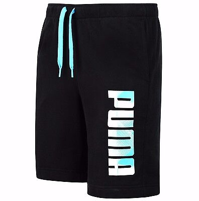 New Mens PUMA Cotton Sweat Shorts Pants Sports Gym Summer Knee Length - Black