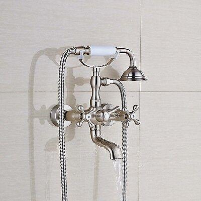 Wall Mount Clawfoot Brushed Nickel Bathroom Tub Faucet Workman Shower Mixer Tap Set
