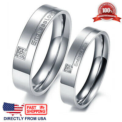 Endless Love Couple's Matching Promise Ring His or Her Comfort Fit Wedding Band