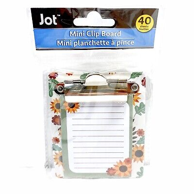 Jot Sunflower Mini Clipboard With Notepad 40 Sheets 3.25 X 3.50