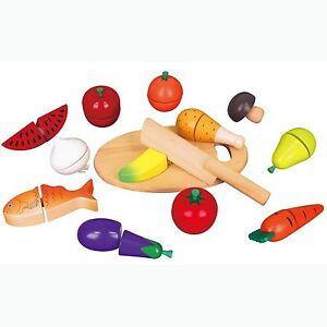 Viga Wooden Cutting Food -  Pretend Fruit & Vegetables Childrens Wood Set
