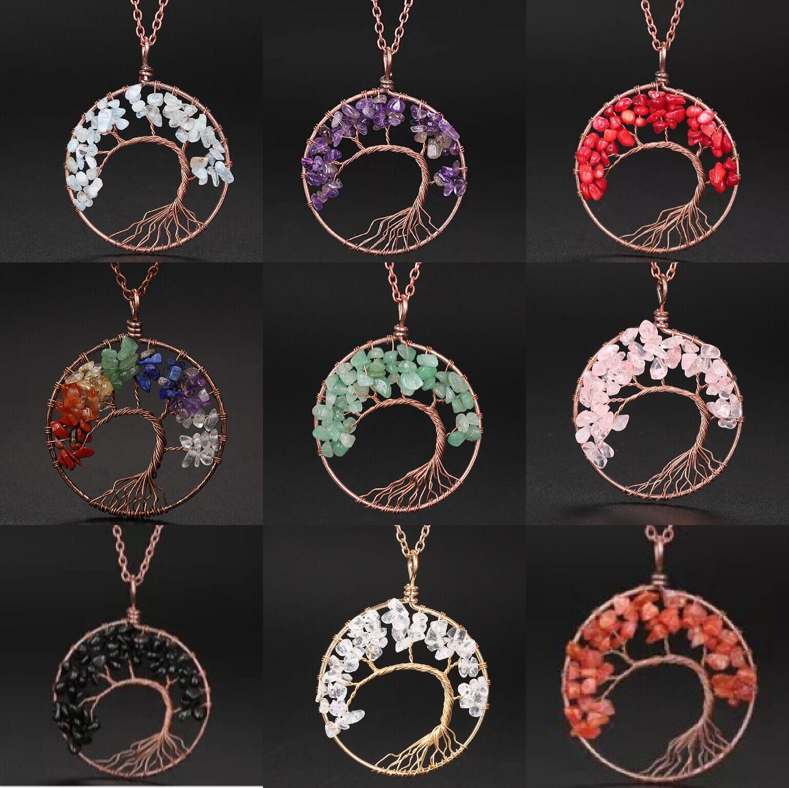 Jewellery - Pendant Necklace Natural Gemstone Tree of Life 7 Chakra Healing Crystal Charm