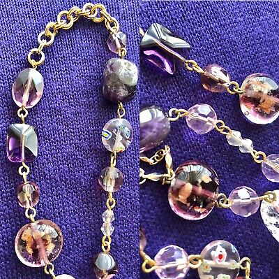 CookieLee Gold Long Necklace Cat Eye Crystal Iridescent Murano Glass Purple Pink Murano Cat Necklace