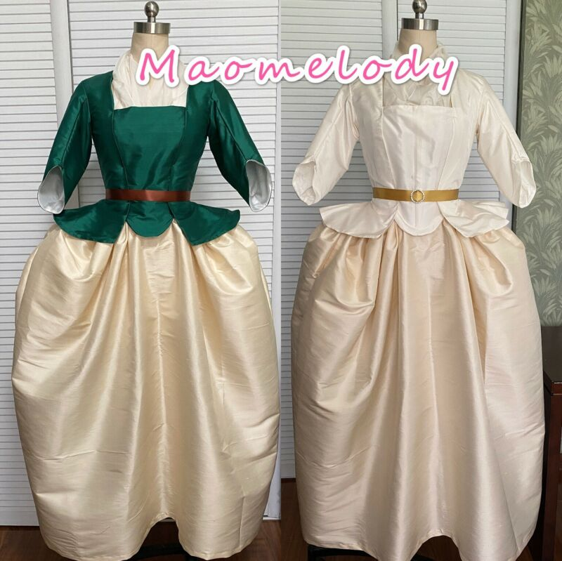 18th Century Dupion Silk Caraco Jacket Dress Cosplay Costume A/B