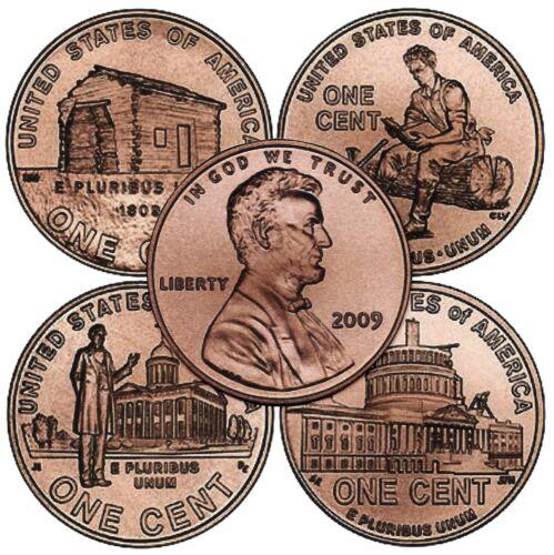 Four Coin Set Lincoln Bicentennial 2009 Cent Pennies from Mint Rolls P Mint