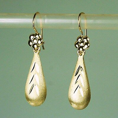 14K Solid Yellow White Gold Teardrop 18X7mm Satin Finish Earrings 1 6Gram