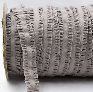 Grey Frilly Ruffle FOE Fold Over Elastic 16mm - 2 Yards