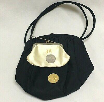 1950s Handbags, Purses, and Evening Bag Styles Vintage JR USA Black Cloth Handbag w Change Purse Julius Resnick Mid Century $22.62 AT vintagedancer.com