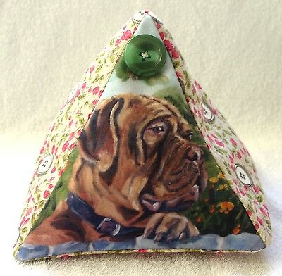 DOGUE DE BORDEAUX DOG NEW FABRIC COTTAGE DESIGN DOORSTOP SANDRA COEN ARTIST
