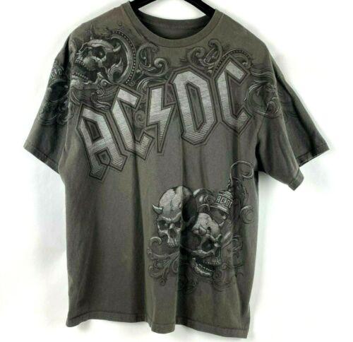 Liquid Blue AC/DC Hells Bells Skull Graphic Tee Shirt Gray Men