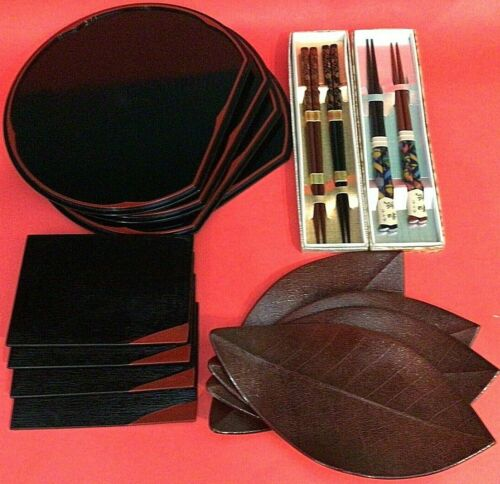 SUSHI SERVING SET 4 PIECE ASIAN PLACE SETTING AND CHOP STICKS RED AND BLACK
