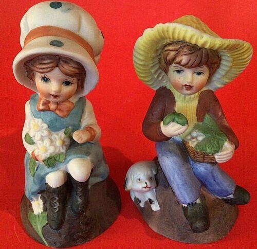"""BOY & GIRL PORCELAIN BELLS VINTAGE LITTLE WITH PETS 4"""" LOT OF 2 FRANKEL"""