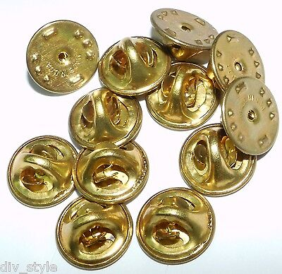 25 Pin Back Clasps butterfly clutch brass new condition frogs keepers