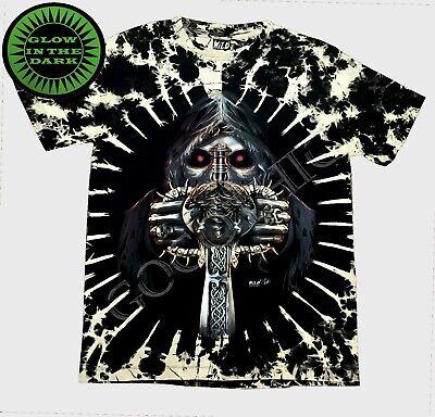 Wild Tie-Dye Glow In The Dark T Shirt Grip Reaper Holding Sword Gothic Alchemy