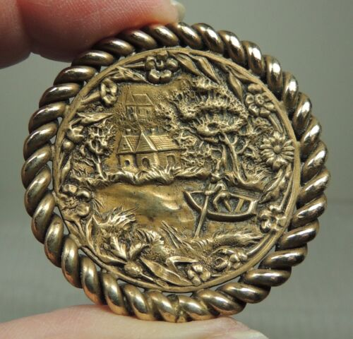 BRASS PICTURE BUTTON ~  HOUSE POND & CHURCH SCENE     METAL