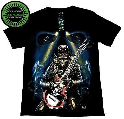 Wild Glow In The Dark T Shirt Blue Guitar Hat Skeleton Rocking Stage Speaker ()