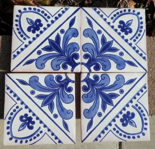 """30~Talavera Mexican pottery 4"""" tile classic vintage French blue bright white"""