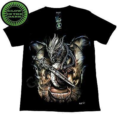 Wild Glow In The Dark T Shirt Fierce Dragon Sword Fighting Defending