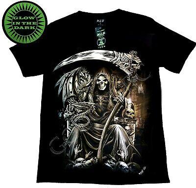 Wild Glow In The Dark Black T shirt Cotton Grim Reaper Wings Skull Gothic](Grim Reaper Wings)