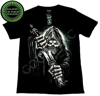 Wild Glow In The Dark Cotton T Shirt Reaper Your Next Sword Skull Gothic ()