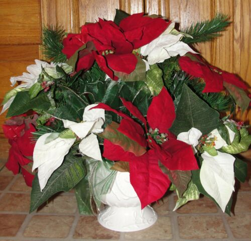Christmas Silk Flowers Red and White Poinsettia Arrangement Pine Ribbon Tails
