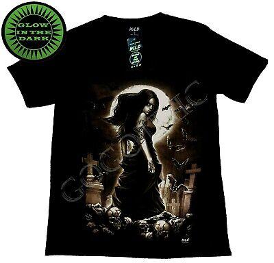 Wild Glow In The Dark T Shirt Girl Standing In Cemetery Cross Full Moon ()