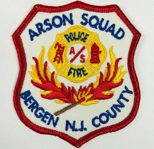 """HAT SIZE Bergen County Arson Squad Police Fire New Jersey NJ Patch 3"""" C3"""