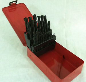 Drill Bit Set 29pc High Speed Bits Steel HSS w/ Metal Index Box