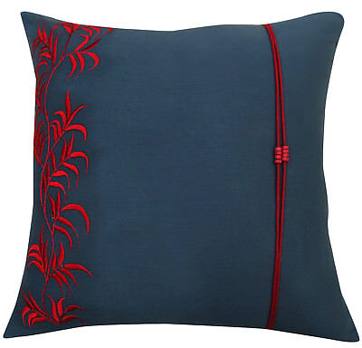 Home Square Leaf Embroidered Cushion Cover Dark Gray Cotton Pillow Cover