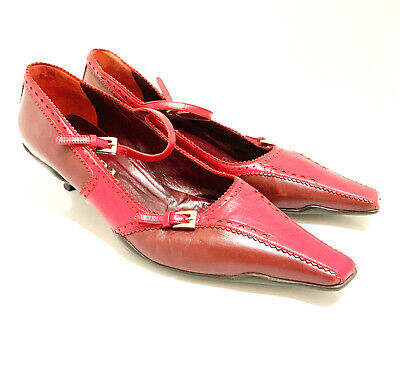 PRADA VTG Classic Red Leather Pointed Toe Mary Jane Low Heel Loafer Pumps 7.5 38