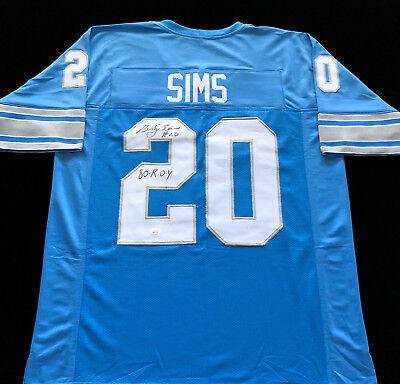 Billy Sims Detroit Lions Signed Autograph Jersey 80 ROY JSA COA