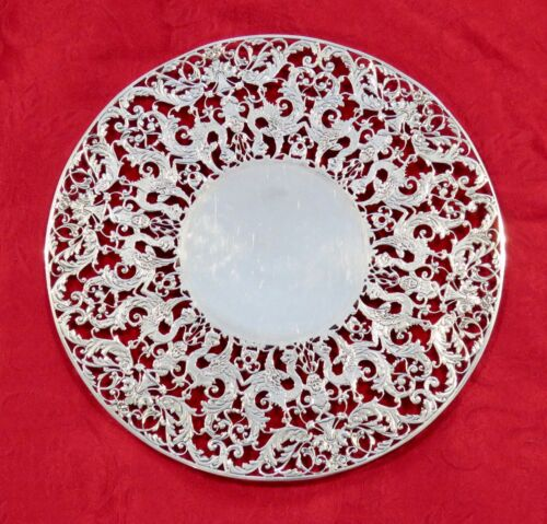 Antique  Sterling Silver Openwork Cake Plate  With Griffins & Cherubs 540g.