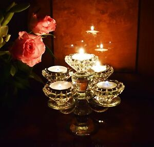 Vintage Crystal Cut 5 Arm Candelabra Candlestick / Tealight Holders