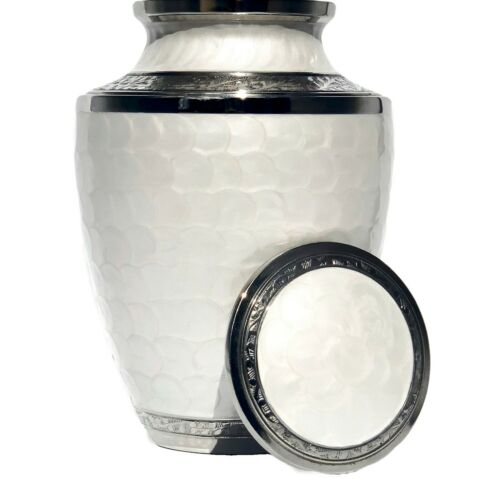 Cremation Urn for Human Ashes | Funeral Urn for Adults Remains Velvet Bag- Pearl