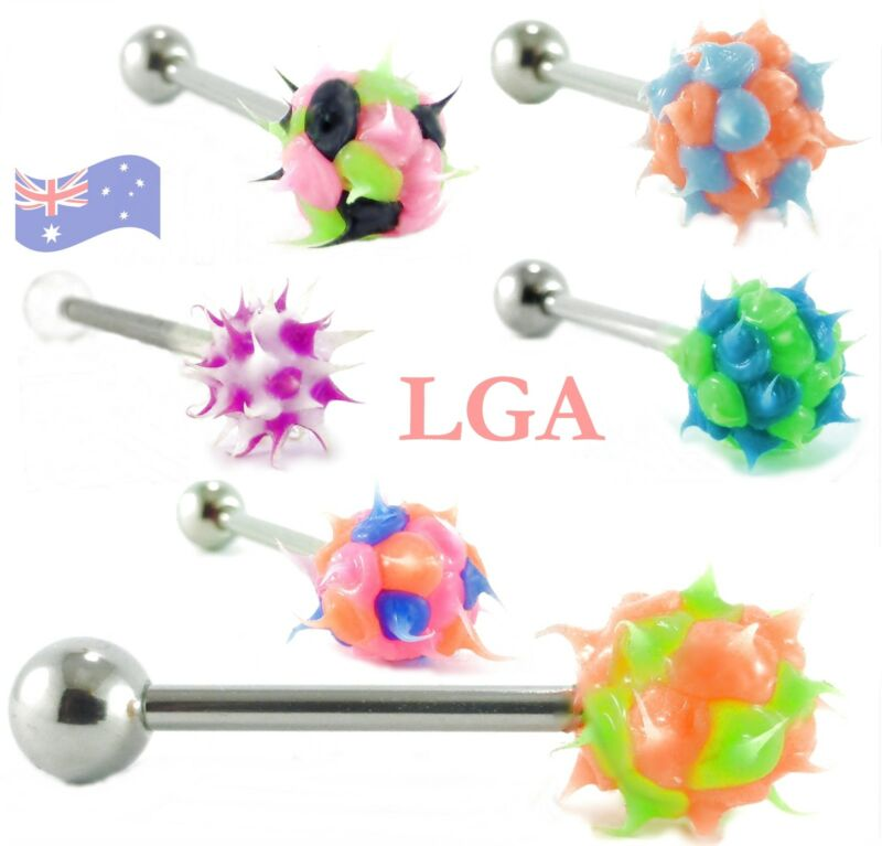 SET OF 6 Koosh Silicone Barbells 14g 16mm Tongue Nipple Barbells Body Piercing C