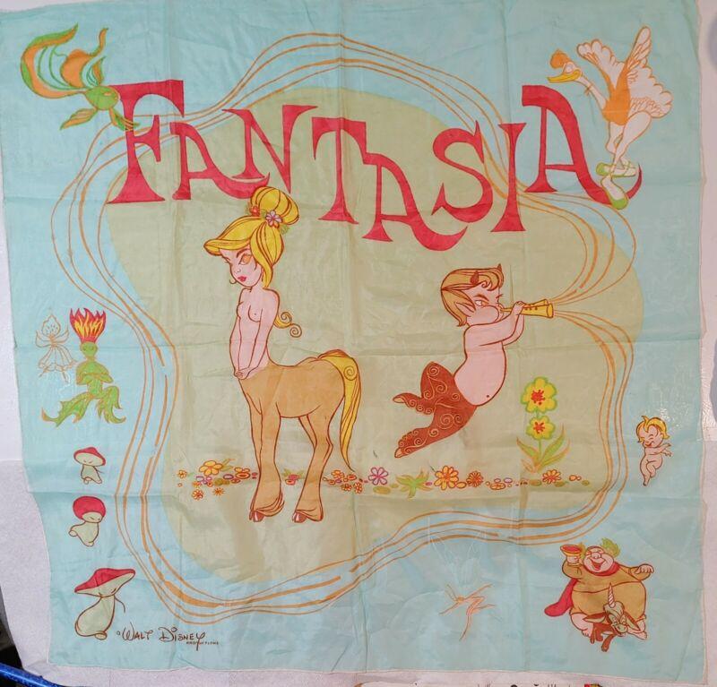 Vtg c. 1940 Walt Disney Fantasia Topless Centaur Character Silk Chiffon Scarf