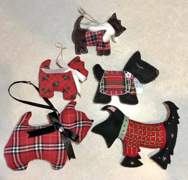 5 Scottie Dog Scottish Terrier Fabric Ornaments