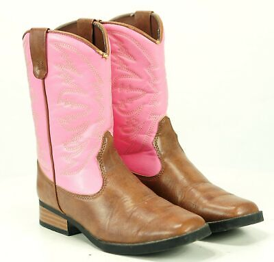SmartFit Kid's Pink And Brown Western Cowboy Boots Square Toe Manmade Girl's 2