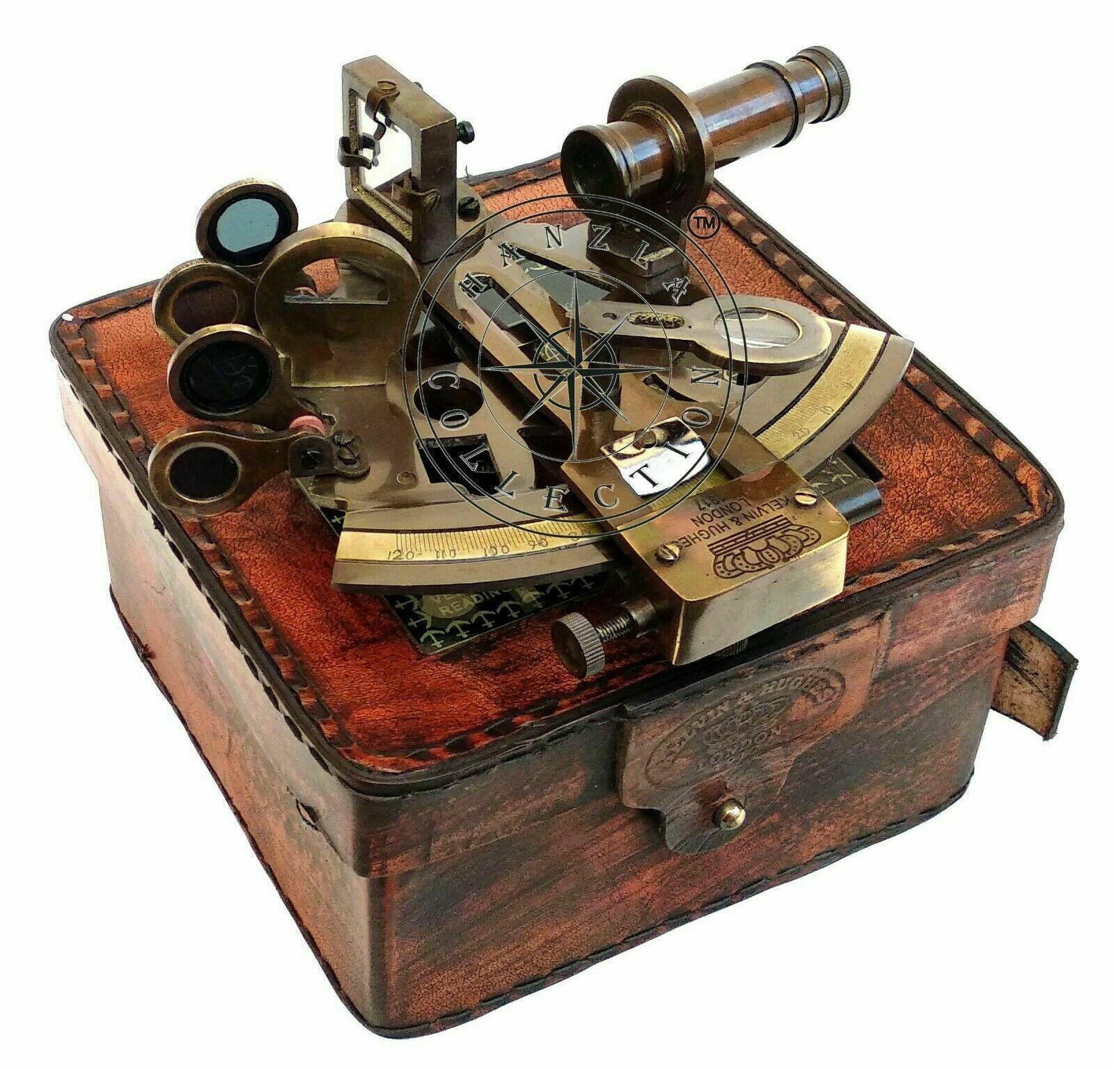RARE NEW Brass Sextant Nautical Brass Sextant Working Marine Vintage/Leather Box - $29.00