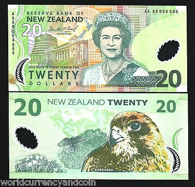NEW ZEALAND 20 DOLLARS P187 1999 FALCON AA 99 Solid# 008000 POLYMER UNC BANKNOTE for sale  Shipping to United States