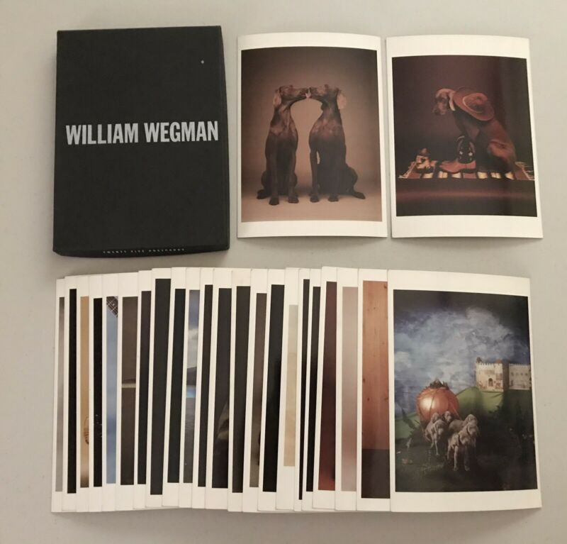 William Wegman vintage post card fotofolio, Weimaraner dogs in costume,25 in box
