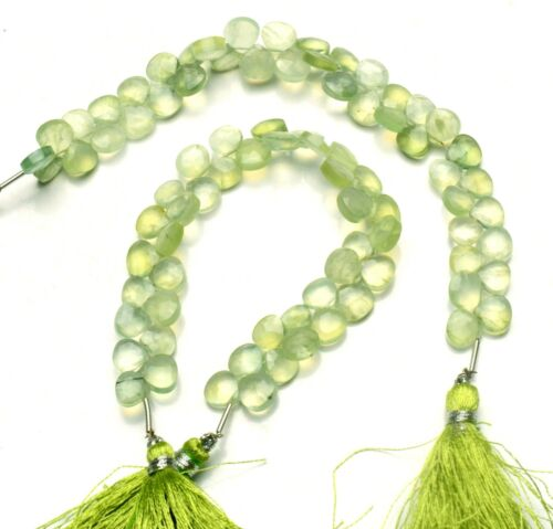 """Natural Gem Prehnite 7MM Approx Size Faceted Heart Shape Beads Strand 6.5"""""""